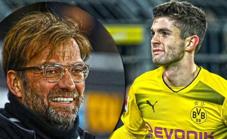 Christian Pulisic and Jürgen Klopp Borussia Dortmund Bundesliga