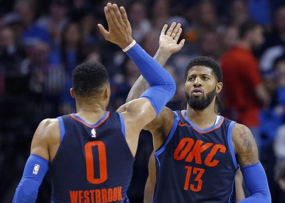 Paul George and Rusell Westbrook Oklahoma City Thunders